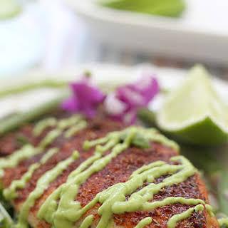 Blackened Rockfish With Avocado Fish Taco Sauce.