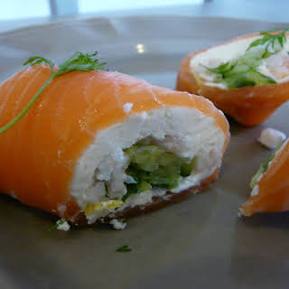 Smoked Salmon Rolls with Shrimp and Cucumber.