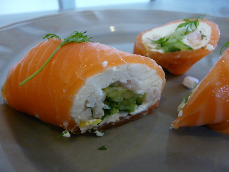 Smoked Salmon Rolls with Shrimp and Cucumber Recipe