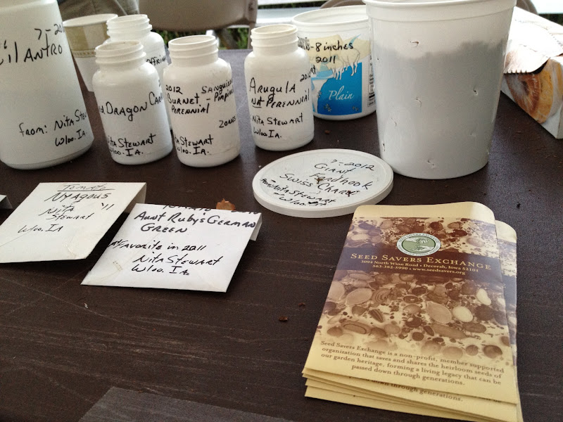 Photo: A seed swapper's table...ready to exchange seeds\