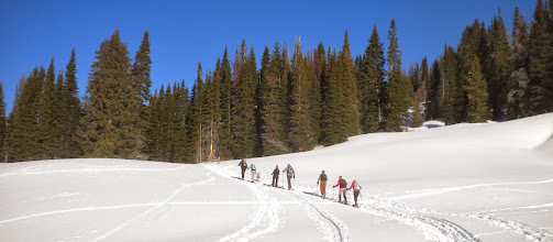 Photo: Start of our hike in Beehive Basin - The last five in this line were part of our group.