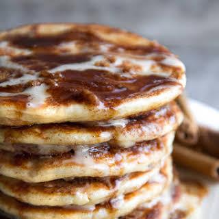 Cinnamon Roll Greek Yogurt Pancakes.