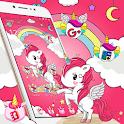 Cute Pink Shiny Unicorn Cartoon Theme 🦄 icon