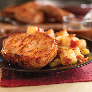 Pan-Seared Pork Chops with Maple Gravy & Apple Bacon Hash