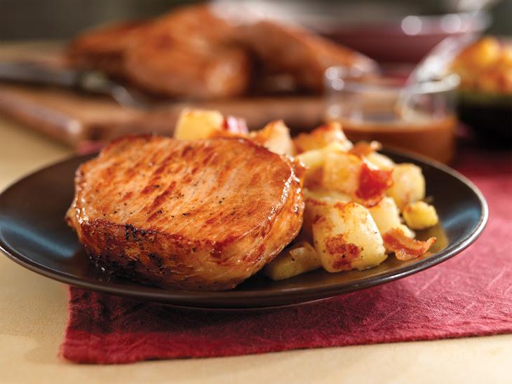 Pan-Seared Pork Chops with Maple Gravy & Apple Bacon Hash Recipe
