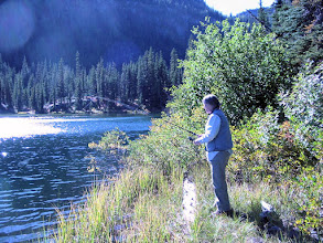 Photo: Mary-Carter fishing at Lake Julius (Photo by Jane)