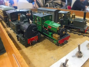 Photo: 023 The basic and fully viewable Green End fiddle yard is a good place to do some top quality NG loco spotting. The W&LLR 0-6-0T no 823 in the foreground is the work of Stephen Sullivan, I think the green Manning Wardle 0-6-2T may also be by Stephen and I am unsure if the little Barclay wing tank 0-4-0 is one of David's or Stephen's. All excellent models – a little bit of adjustment to the headlamp on 823 is perhaps due………..