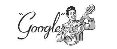 'Google' written in black cursive font with a man with black hair playing guitar and smiling.