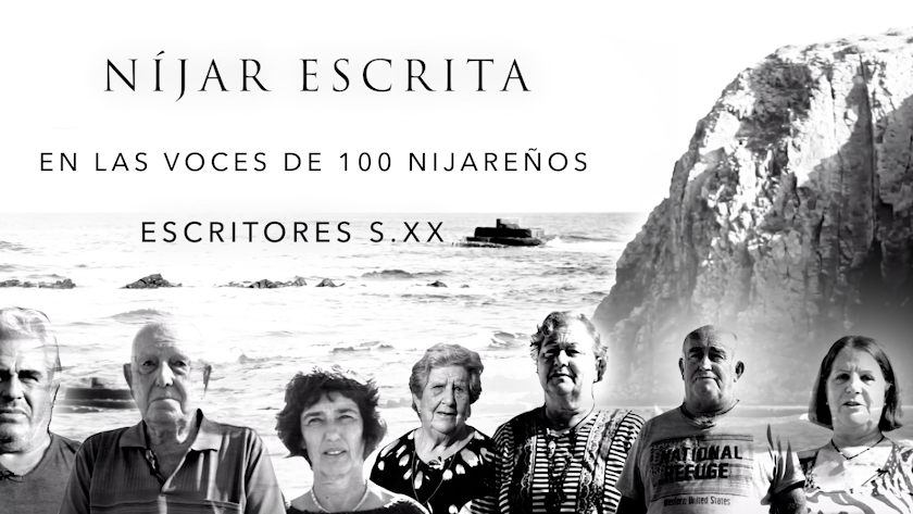 Cartel de 'Níjar escrita' con vecinos de la zona sobre el paisaje de la comarca.