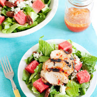 Watermelon and Pecan Salad with Pepper Jelly Vinaigrette.