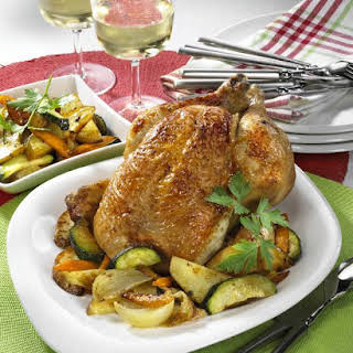 Beer-Glazed Chicken with Vegetables.