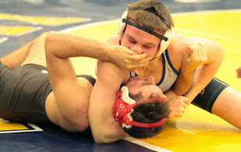 Photo: 152 Andrew Gombas (Bound Brook) over Jake Johnson (Hastings) Fall 5:32. Photo by Jeff Beshey.