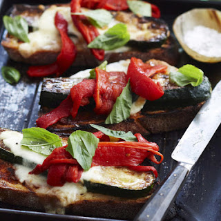 Grilled Vegetable and Mozzarella Toasts