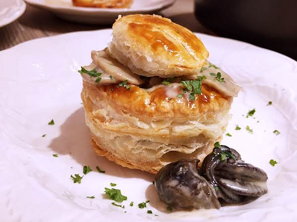 Vol-au-vent On A Plate With Escargots.