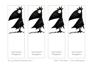 Photo: Hello and Greetings to all new followers! Some #freestuff for you all!  Black Crow Bookmarks to download, print and share! Let my beady eyed corvid help you keep your place...  More free cat, owl and dinosaur downloads here bit.ly/PaulSticklandFreeStuff  #crows #BlackCrowBookmarks #strangestore  Especially for +Lise Bjerregaard Nielsen!