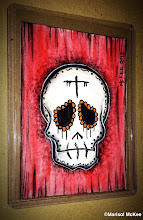 Photo: Calaveras #40. 2.5 x 3.5 inches or 6 cm x 9 cm. Watercolors, acrylics and ink on 100 lb. acid-free Bristol paper. Signed on the front; title and signature on the back. Sealed with a matte finish. Comes in a clear rigid plastic top-loader. ©Marisol McKee.