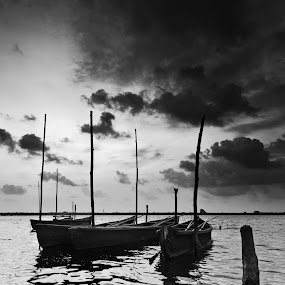 Resting Boats by Sudarshan Hp - Landscapes Waterscapes