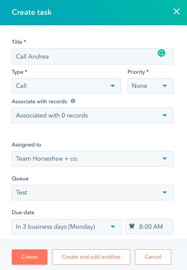Creating a HubSpot task