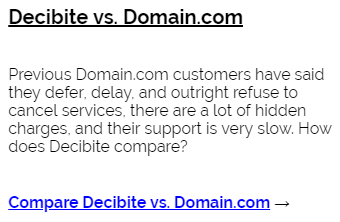 Decibite vs Domain.com