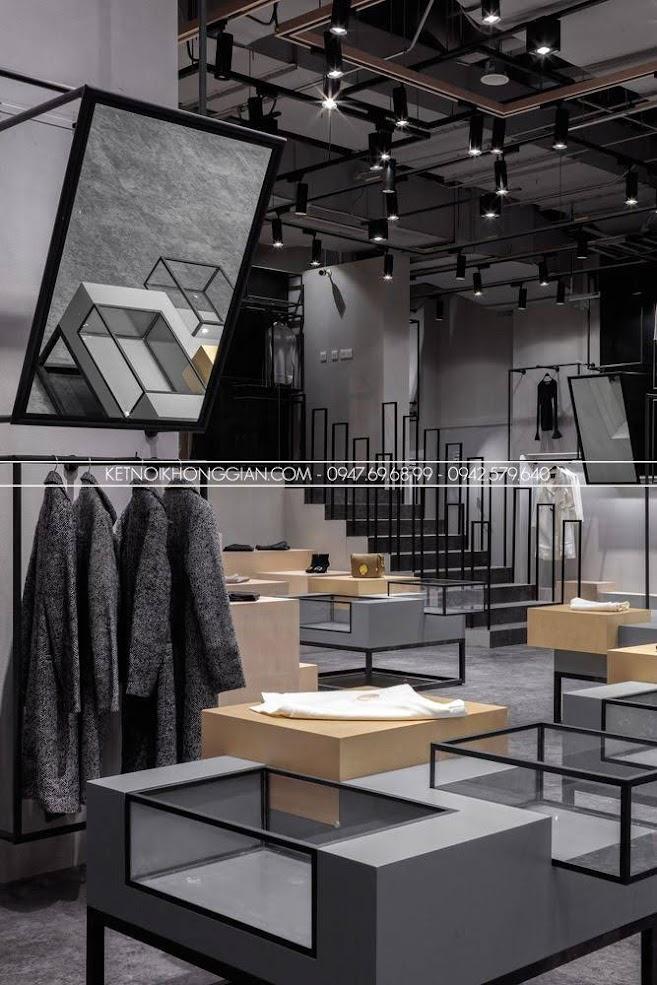 thiết kế shop thời trang tối giản