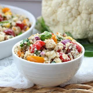 Gluten Free Roasted Cauliflower Couscous Chicken Caprese Salad.