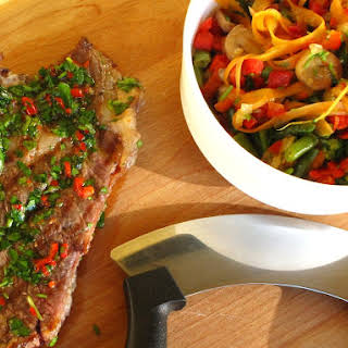 Grilled Veal Cutlets with Vegetable Salad.