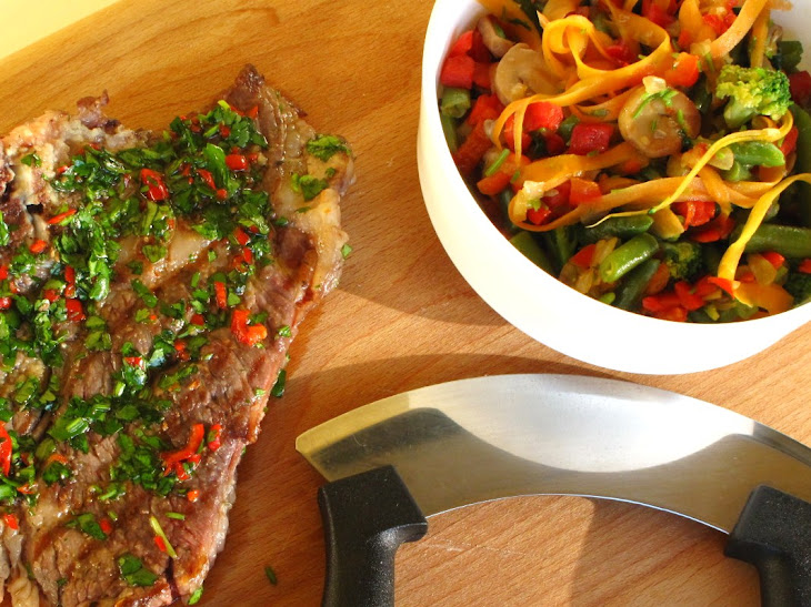 Grilled Veal Cutlets with Vegetable Salad Recipe