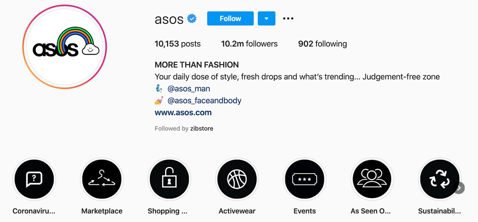 Compte de la marque Asos sur Instagram