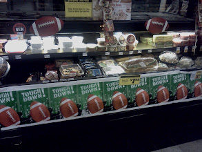 """Photo: This was the Deli area covered with 'Touch Down"""" and footballs."""