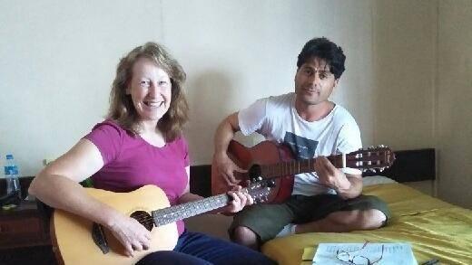 Dawn Barrington with one of the Manus Island refugee, Farhad Bandesh.