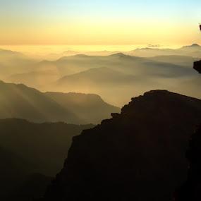 Misty layers in a Sea of Gold by Rohit Chawla - Landscapes Mountains & Hills ( nature, himalaya, sunset, garhwal, cosurvivor, india, uttarakhand, landscape, misty mountains, chandrashila, tungnath, golden hour, #GARYFONGDRAMATICLIGHT, #WTFBOBDAVIS )