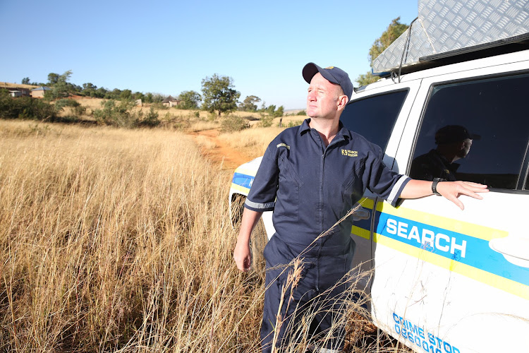 Warrant officer Jacques Meyer on July 2, 2018 near the mountain where he found two-year-old Nomfundo Mkhwanazi.