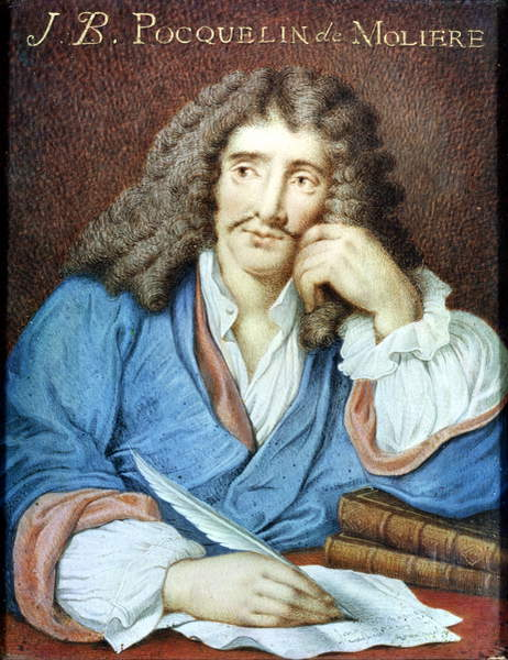 Image of a Portrait of Moliere (1622-73) (w/c on paper), French School, (17th century) / French, Musee des Beaux-Arts, Orleans, France, © Bridgeman Images