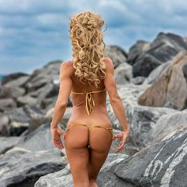 by Ugo Lora - People Portraits of Women ( fit, cloudy, g-string, bikini, rocks, sexy, beach, thong, south beach,  )