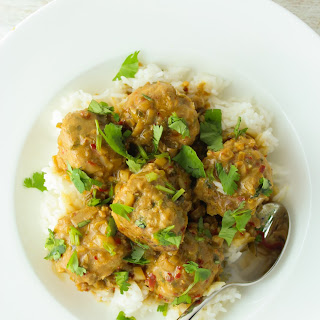 Thai Turkey Meatballs with Coconut Curry Sauce.