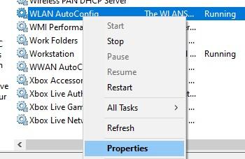 Properties in WLAN AutoConfig context menu
