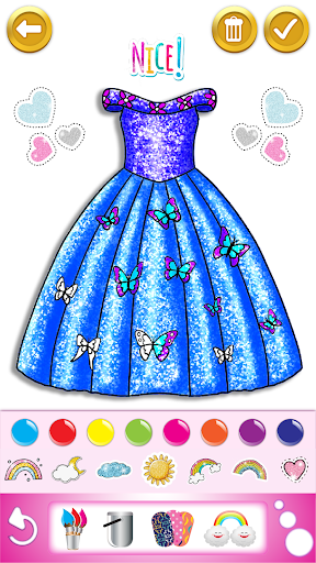 Glitter dress coloring and drawing book for Kids screenshot 1