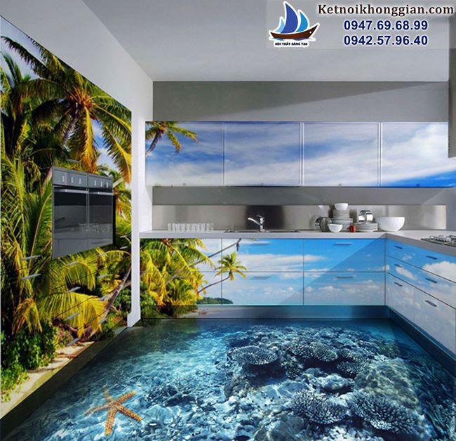 phòng bếp với gạch 3d
