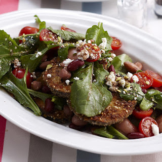 Crispy Dukkah Eggplant and Bean Salad