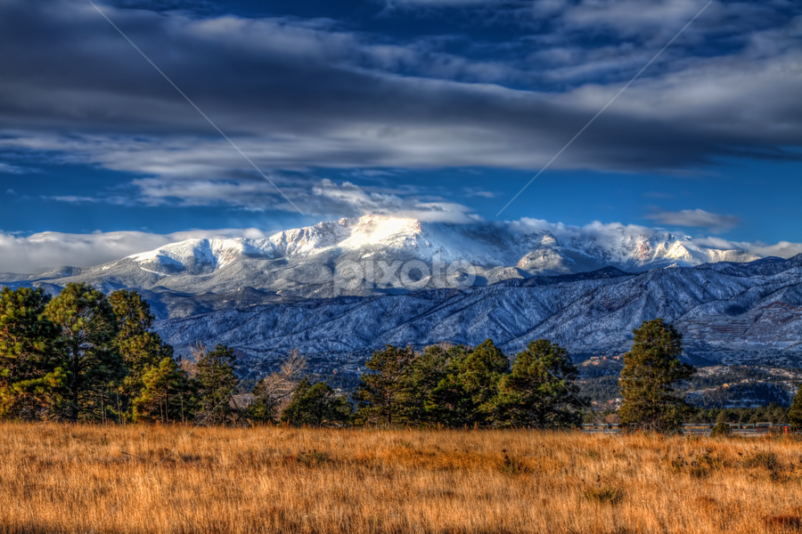 Pike's Peak by Tom Weisbrook - Landscapes Mountains & Hills ( mountain, colorado springs, pike's peak, rocky mountains, colorado, cloudy, snow-covered, sunrise )