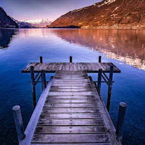 Walk on Water by Matthew Clausen - Buildings & Architecture Other Exteriors ( mountains, blue, stream, wooden, background, dock, water, lake )