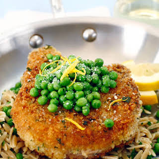 Italian Lemon-Breaded Pork Chops with Orzo & Peas.