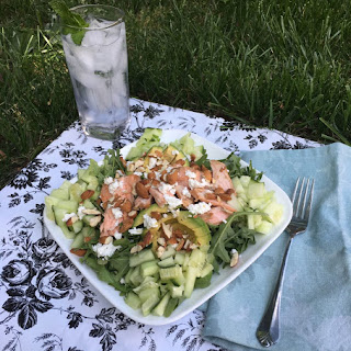 Salmon Chopped Salad with Avocado and Goat Cheese.