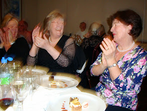 Photo: Applause, applause, applause, Barbara Broderick, Geraldine Sparkes and Phyllis Doyle showing their appreciation for a brilliant nights entertainment or could it be the dessert they are happy about.