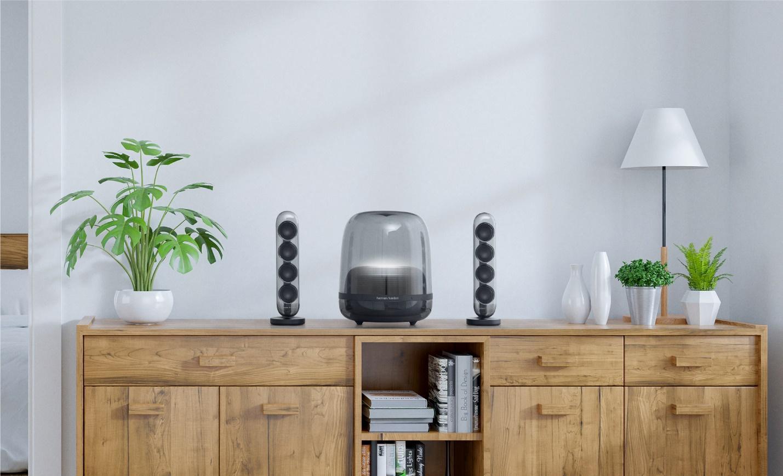 New !! Harman Kardon SoundSticks 4 Bluetooth speaker, elegant shape. Unique  Beautiful from every angle
