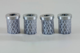 "Photo: Turned by Matt Radtke  1/2"" Cole jaw inserts [aluminum, plastic tubing]"