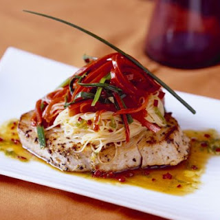 Noodle Salad over Tuna Steaks.