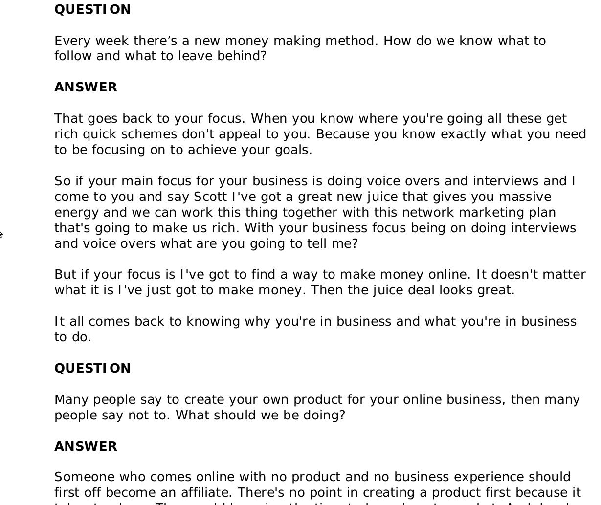 common internet marketing questions