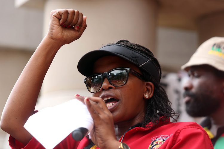 Cosatu president Zingiswa Losi addresses members outside Durban City Hall during the nationwide strike against unemployment.