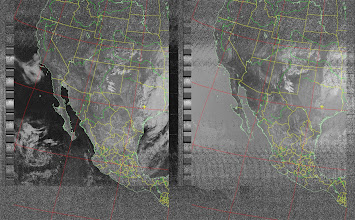 Photo: NOAA 19 northbound 34W at 30 Sep 2012 20:20:02 GMT on 137.10MHz, norm enhancement, Normal projection, Channel A: 2 (near infrared), Channel B: 4 (thermal infrared)